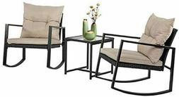 FDW Wicker Patio Furniture Sets Outdoor Bistro Rocking Chair