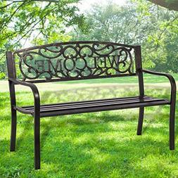 "50"" Patio Garden Bench Park Yard Outdoor Furniture Steel Fra"