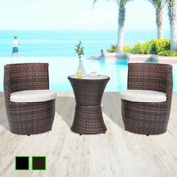 vidaXL Patio Garden Furniture Set Table and 2 Chairs Poly Ra