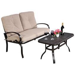 Giantex 2 Pcs Patio Outdoor LoveSeat Coffee Table Set Furnit