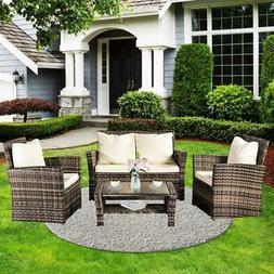 Patio Outdoor Wicker Sofa 4 PCS Furniture Garden Rattan Sect