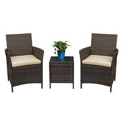 Devoko Patio Porch Furniture Sets 3 Pieces PE Rattan Wicker