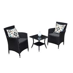 PATIORAMA 3PC Patio Outdoor Rattan Furniture Set Cushioned G