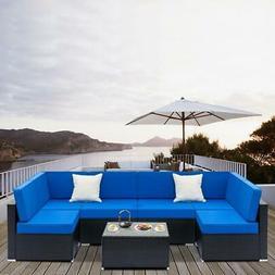 Patio Rattan Wicker 7PC Sofa Table Outdoor Garden Sectional