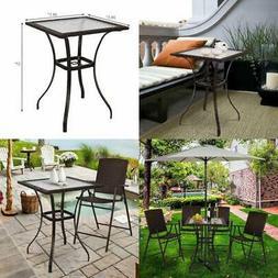 Patio Rattan Wicker Bar Square Table Glass Top Yard Garden O
