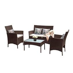 Tangkula Patio Furniture Set 4 Piece Outdoor Pool Lawn Backy