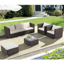 Patio Rattan Wicker Furniture Set Garden Sectional Couch Out