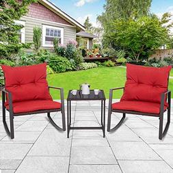 Tangkula 3 PCS Patio Rocking Wicker Bistro Set Outdoor Ratta