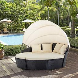 BestMassage Outdoor Patio Round Daybed Furniture Wicker Ratt