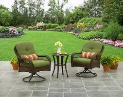 Patio Seating Set 3Pc Outdoor Bistro Table Chair Cushion Gar