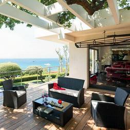 Patio Furniture Set 4 Pcs Outdoor Wicker Sofas Rattan Chair