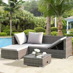 Patio Sofa Set Outdoor Grey Wicker Lounge Sectional Sofa Fur