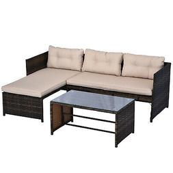 3PC Patio Rattan Wicker Sofa Set Cushined Couch Furniture Ou