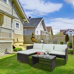 Patio Wicker Furniture Outdoor 3Pcs Rattan Sofa Garden Conve