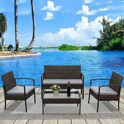 Patio Wicker Furniture Outdoor 4PCs Rattan Sofa Garden Conve