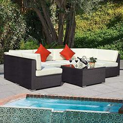 Tangkula 7 pcs Wicker Furniture Set Rattan Wicker Sofas Gard