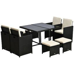 Outsunny 9pc PE Rattan Wicker Patio Dining Furniture Set Tab