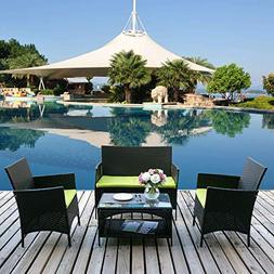 Merax 4-piece Outdoor PE Rattan Wicker Sofa and Chairs Set R