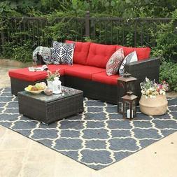 PHI VILLA Outdoor Rattan Sectional Sofa- Patio Wicker Furnit