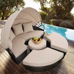 Poolside Wicker Furniture Outdoor Patio Canopy Round Sofa Da