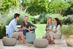 Pouf Set Outdoor Patio Furniture Table and 2 Poufs Bistro Se