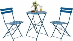 Premium Steel Patio Bistro 3 Set, Folding Outdoor Furniture