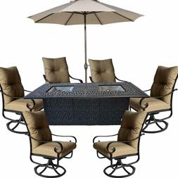 Propane fire pit dining table set 9 piece outoor cast alumin