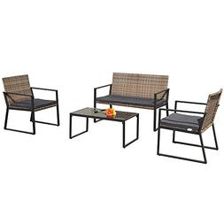 PATIORAMA 4 Pieces Patio Loveseats Outdoor Furniture Sets wi