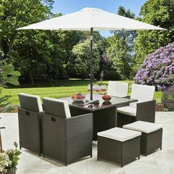 Rattan Cube Dining Table Garden Furniture Patio Set Grey Bro