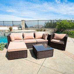 Rattan Furniture Set 6 PCS Sofa Garden Outdoor Patio PE Wick