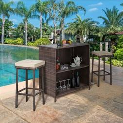 Rattan Patio Bar Outdoor Wicker Conversation Set Garden Pati
