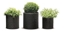 Rattan Planter Set 3 Piece Flower Herb Garden Pots In/Outdoo