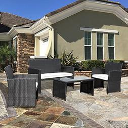 PATIOROMA 4pc Rattan Sectional Furniture Set with Seat Cushi