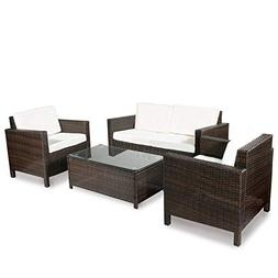 Merax 4-Piece Rattan Sectional Sofa Couch Loveseat Chairs In