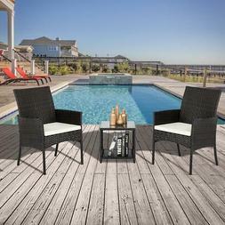 Rattan Wicker Furniture Set 3PC Cushioned Outdoor Garden Sea