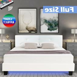 Full Metal Bed Frame Platform LED Light PU Leather Upholster