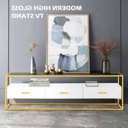 Modern High Gloss White TV Stand 3 Drawers Open Shelf Consol
