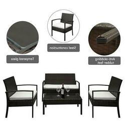 Rattan Wicker Sofa Set 4 Piece Sectional Couch Cushioned Fur