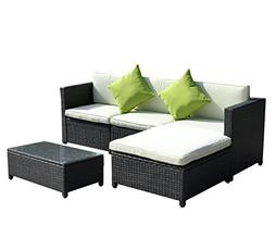 Goplus 5PC Rattan Wicker Sofa Set Cushioned Sectional Outdoo