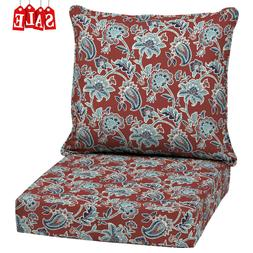 Outdoor Deep Seat Chair Patio Cushions Set Red Pad UV Resist