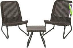 Keter Rio 3 Piece Resin Wicker Patio Furniture Set With Side