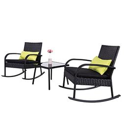 Outdoor 3 PC Rocking Chair Rattan Wicker Sectional Set Bistr