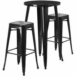 Flash Furniture Round Patio Bistro Set in Black