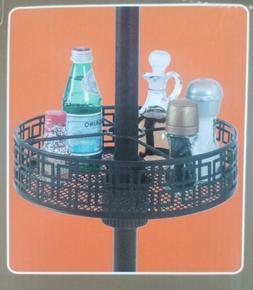 Round Patio Umbrella Basket Organizer Tray - Holds Condiment
