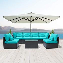 Dineli Outdoor Sectional Sofa Patio Furniture Wicker Convers