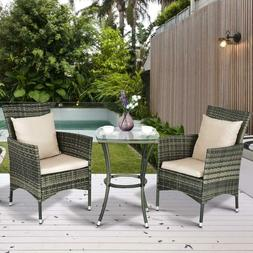 Set 3 Pieces Furniture Wicker Rattan Outdoor Garden Patio Po