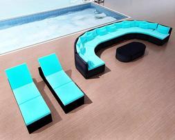 Patio Sectional Sofa Set Garden 2 Sun Lounger Furniture Clea