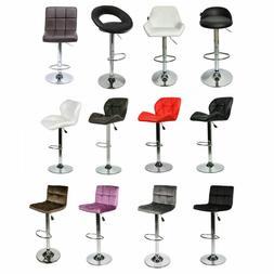 Set of 2 Bar Stools PU Leather Modern Hydraulic Swivel Adjus