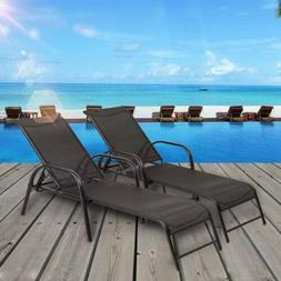 Set of 2 Outdoor Patio Adjustable Pool Recliner Chaise Loung