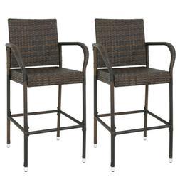 Set of 2 Outdoor Wicker Rattan Bar Stool Set Furniture Club